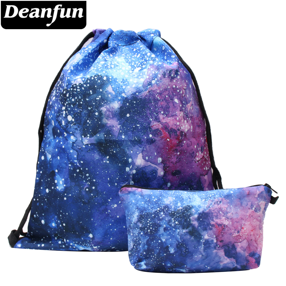 Deanfun 2PCS/Set Drawstring Bag Colorful Space For Girl School Storage 020