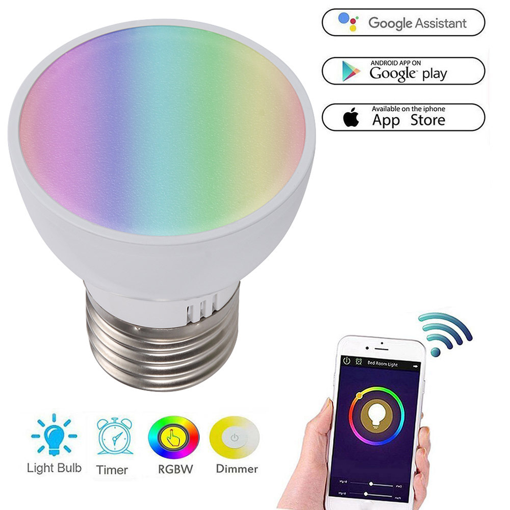 WiFi Smart Light Bulb GU10/E27/GU5.3 6W RGBW LED Dimmable Light Cup Compatible with Alexa&Google Home Remote Light Bulb