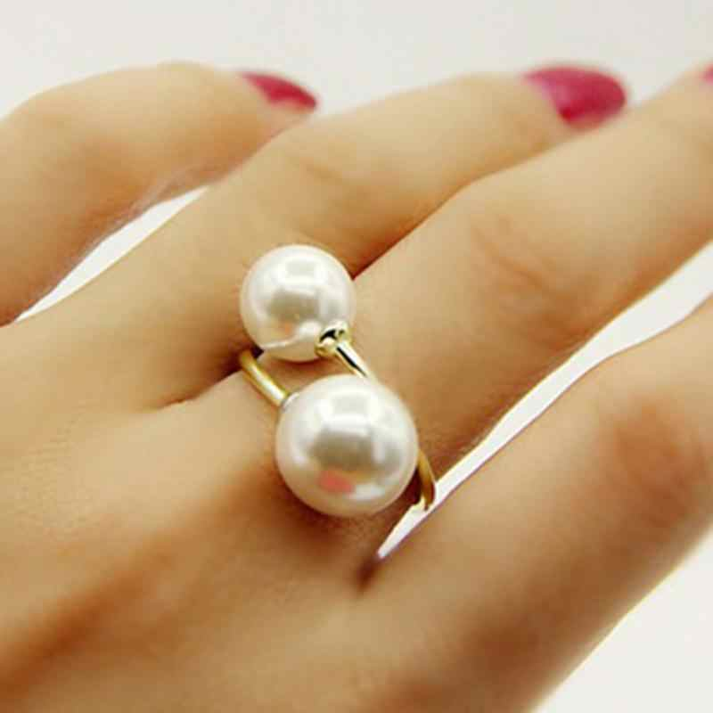 1PC Women Fashion RingGold / Silver Lightweight Elegant Lovely Women's Girls Simulated Pearl Opening Adjustable Rings