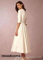 Deep V Neck 2018 New Wedding Dresses Half Sleeves A Line Tea Length Satin Party Gowns Cheap Bridal Dresses