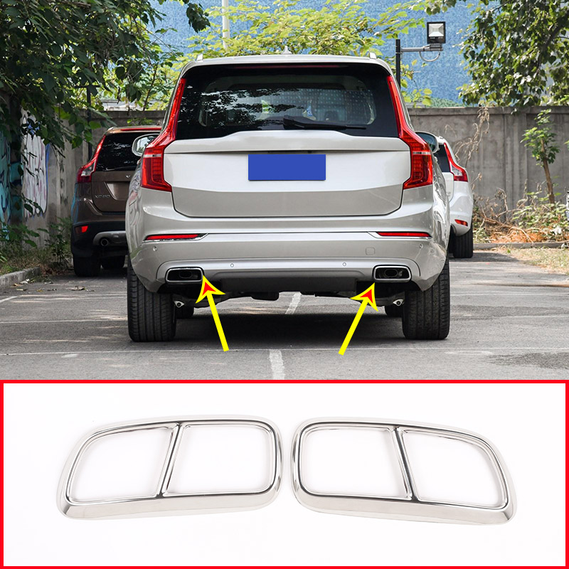 2pcs Chrome Stainless Steel Tail Exhaust Pipe Muffler Cover Trim For <font><b>Volvo</b></font> <font><b>XC90</b></font> 2015 <font><b>2016</b></font> 2017 2018 2019 <font><b>Accessories</b></font> image