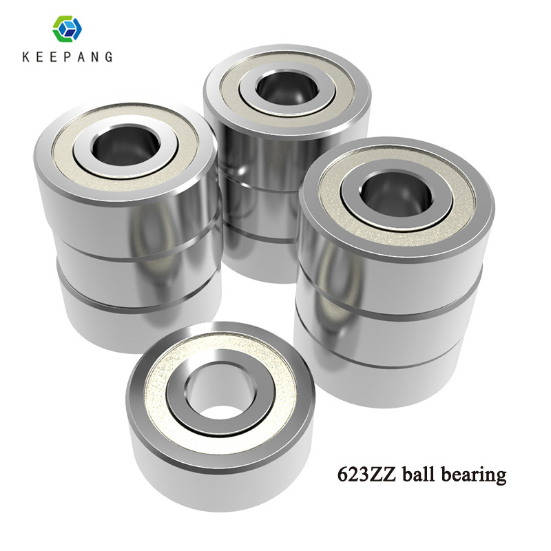 10Pcs 623ZZ Bearing 623-ZZ 3x10x4mm Miniature Deep Groove Ball Bearing Shielded Silver Chrome Steel Shafts 3d Printer Accessorie