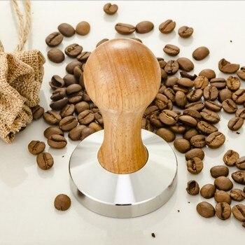 Wysokiej jakości ze stali nierdzewnej 58mm drewniany uchwyt ubijak do kawy Barista ekspres do kawy szlifierka ręcznie płaska podstawa kawy młotek