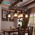Винтажная деревянная 6 промышленная художественная Люстра для бара ресторана спальни декоративное освещение E27