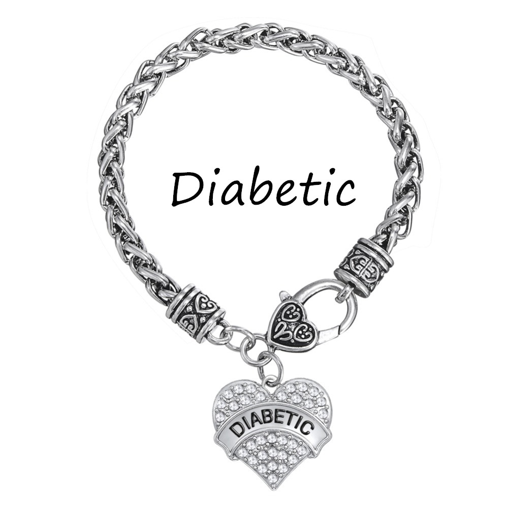 Silver Plated DIABETIC Awareness Bracelet Crystal Heart ...