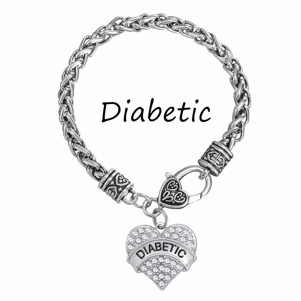 Medical Alert Bracelets >> My Shape Diabetic Awareness Bracelet Crystal Heart Charm Braided Bracelets Medical Alert Jewelry Women Jewelry Fashion