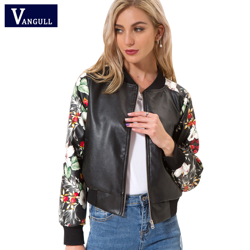 Vangull New Fashion Women Bomber Jacket Spring Fashion Print PU   Leather   Long Sleeve Coat 2018 Autumn Zipper Baseball Lady Tops