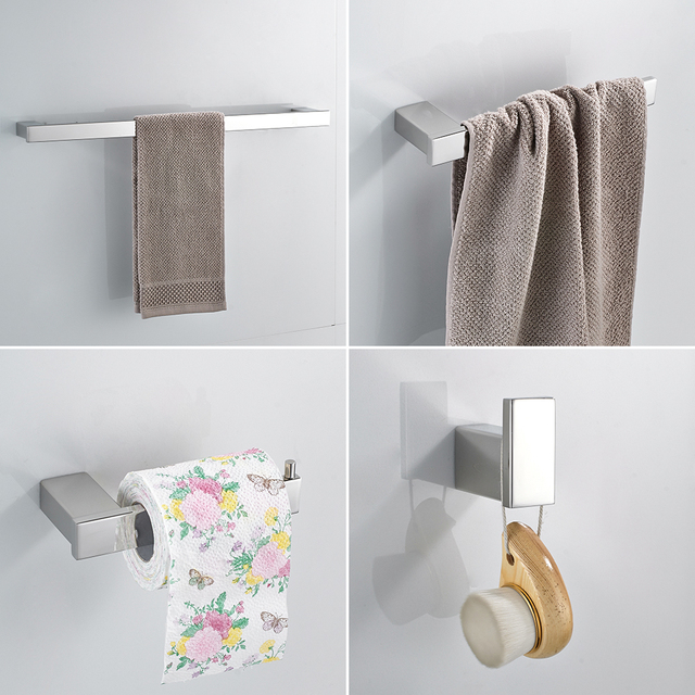 Paper Holders Euro style Bathroom Accessories Stainless Steel Bath Hardware Set Bathroom fitting Towel ring Towel ring WF-610000