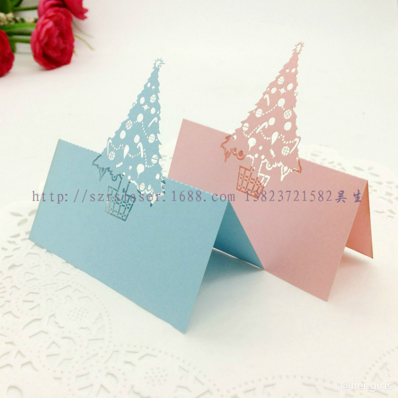 100pcs/lot Hollow Laser Christmas Tree Table Name Card Wedding Invitations  For Business/Party