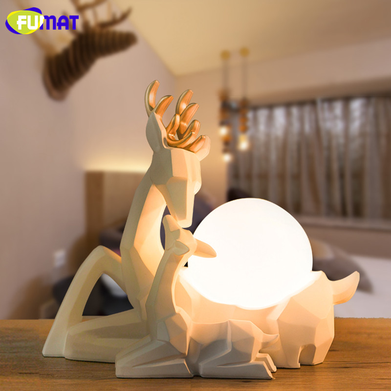 FUMAT Creative Decoration Elk Table Lamp Bedroom Light Modern Minimalist Warm LED Bedside Lamp Resin Elk Night Light wooden modern led 3d table lamps creative personality bedroom bedside night light lampe deco birthday gift elk