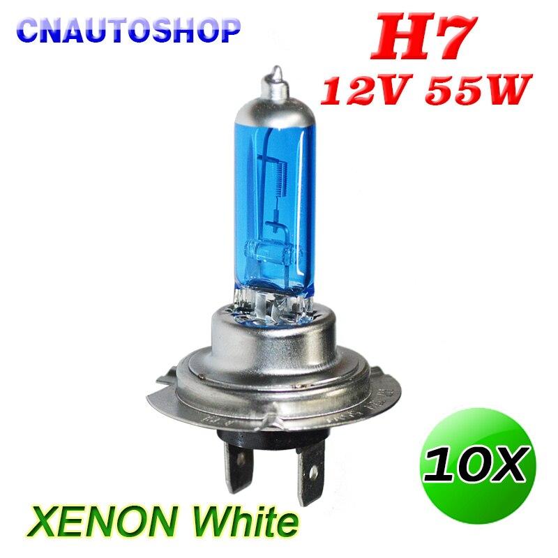 H7 Halogen Bulb 12V 55W Super White 5000K Quartz Glass Dark Blue Car Fog Lamp 10 PCS галогеновая лампа h7 12 v 55 w super white vettler