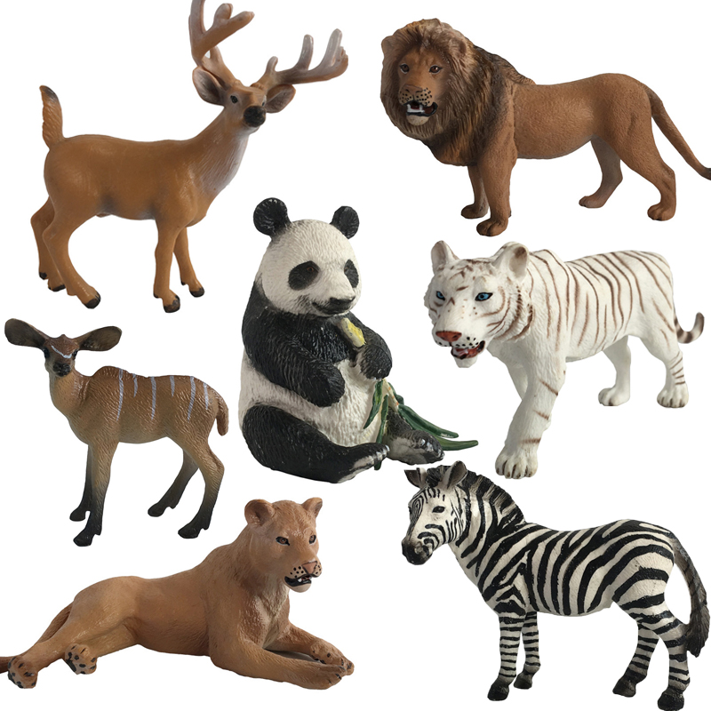 1pc Animal Model Action Figures Zoo Park Simulation Tiger Lion Panada Kangaroo Models For Kids Early Education Toy #A