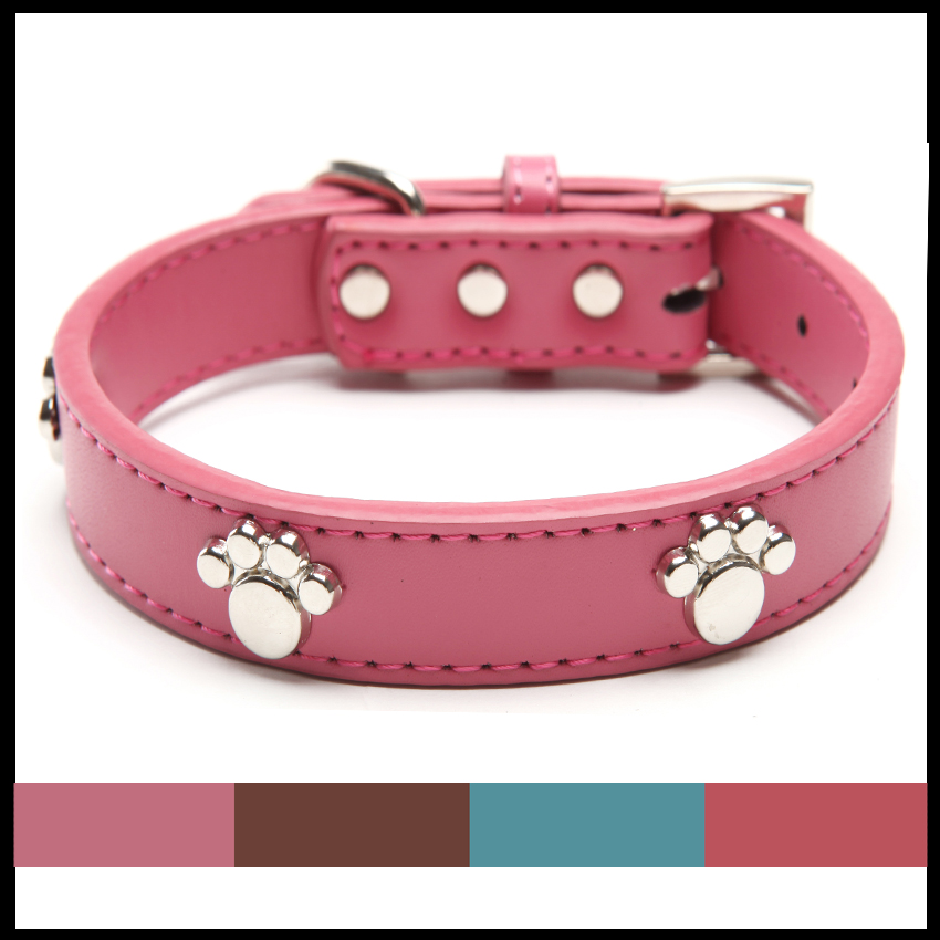US $4 24 15% OFF|Real Leather Paw Cut Puppy Collars Adjustable Necklace  Studs Pet Cat Dog Collars for small dog Medium and Large Pet-in Collars  from
