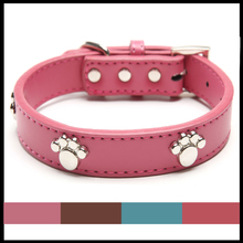 Real Leather Paw Cut Puppy Collars Adjustable Necklace Studs Pet Cat Dog Collars for small dog