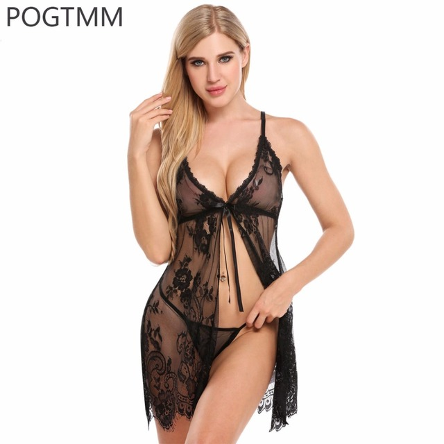 7de1666a373 Sexy Open Babydoll Lingerie Erotic Hot Sex Costume Transparent Floral Lace  Short Mini Sleepwear Nightwear Exotic Apparel Red XXL