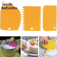 3Pcs/set Plastic Dough Knife Icing Fondant Scraper Jagged Edge Cake Spatula Baking Pastry Tools Plain Smooth Cake Paddle