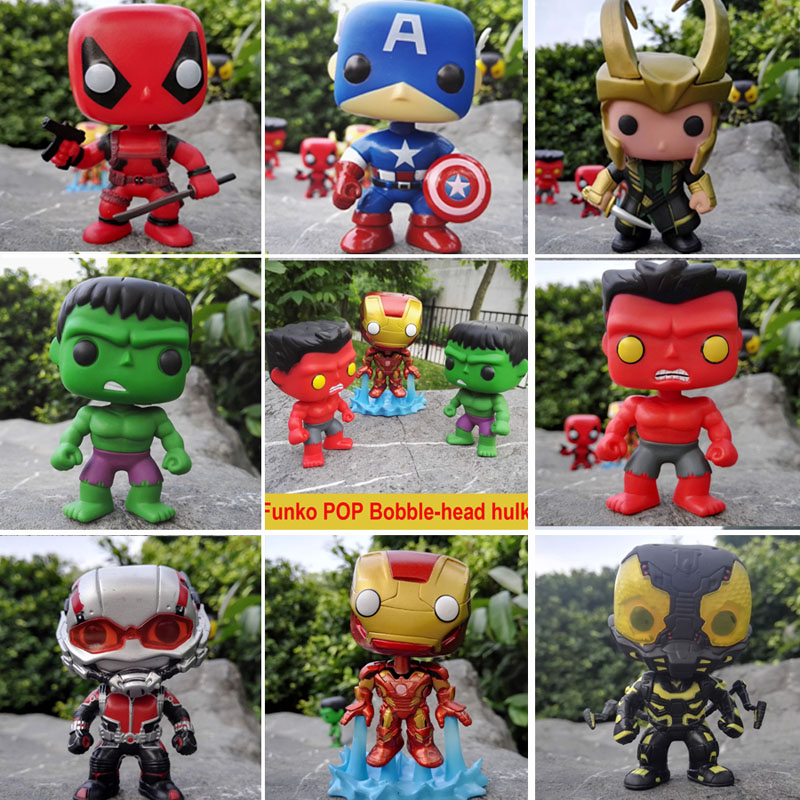Funko POP Marvel Avengers Captain America Hulk Loki Vinyl Deadpool Iron man ant-man Bobble Head 10cm PVC Action Figure toys  funko pop marvel the hulk no 08 red hulk no 31 iron man vinly bobble head pvc action figure collectible model toy gift for kids