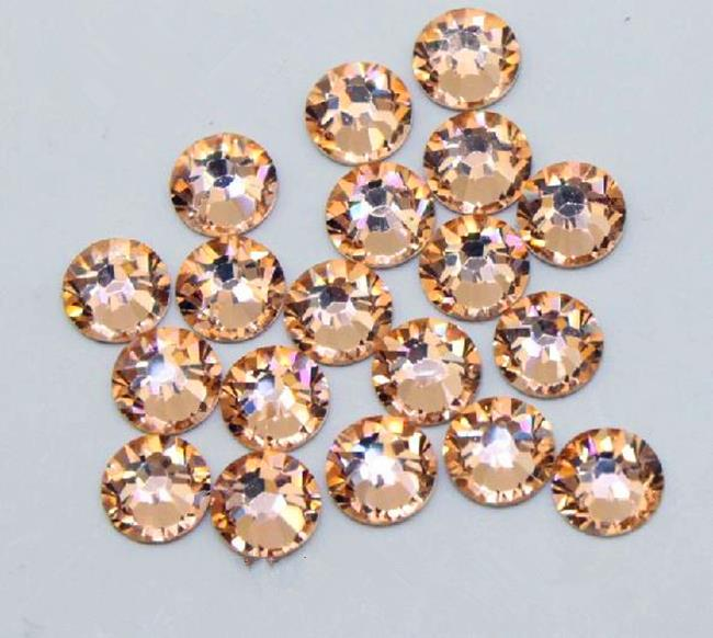 Super Shiny SS3-SS34 LT.Peach / Champagne Glitter Non Hotfix Crystal 3D Nail Art Decorations Flatback Rhinestones Strass Stones ccbling super shiny ss3 ss40 bag clear crystal ab color 3d non hotfix flatback nail art decorations flatback rhinestones