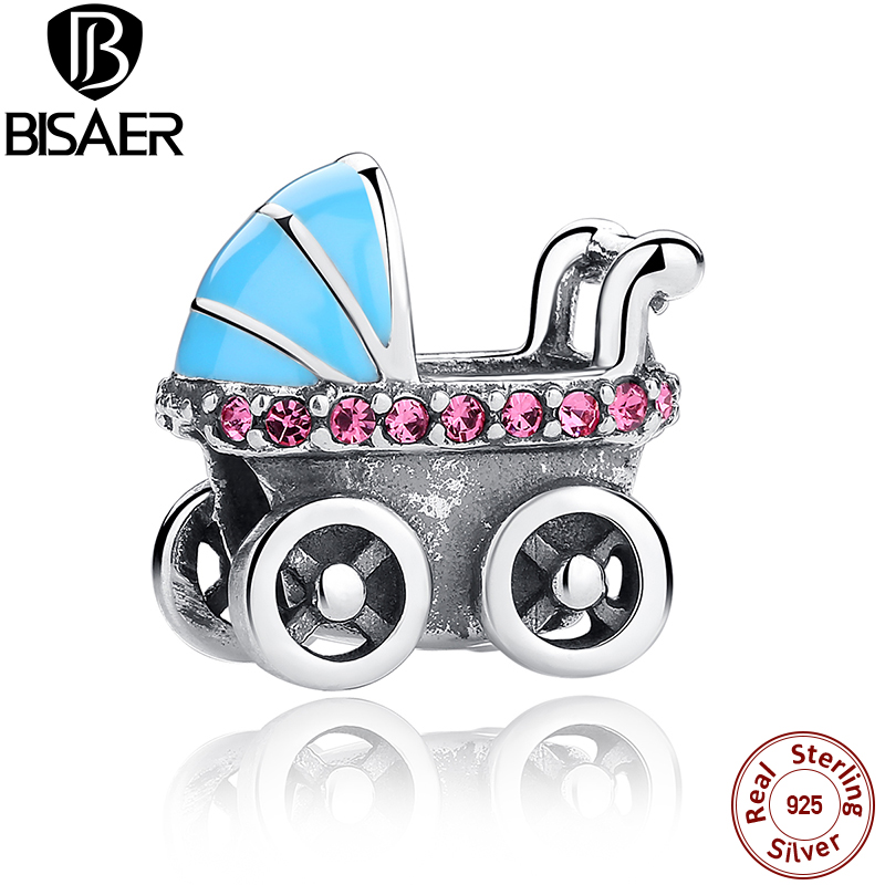2016 New Collections 925 Sterling Silver Baby Stroller Blue Car Charms fit Pan Bracelets Necklace DIY Accessories HSC010
