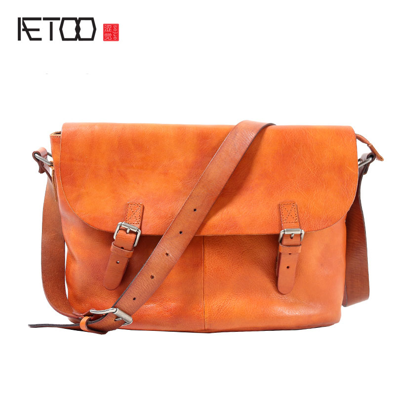 AETOO Retro Handmade Postman Pack Casual Men 's Head Cowhide Messenger Bag Leather Shoulder bag Men недорого