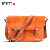 AETOO Retro Handmade Postman Pack Casual Men 's Head Cowhide Messenger Bag Leather Shoulder bag Men