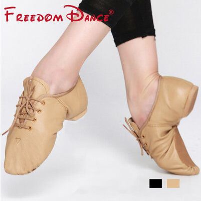 Children Lace-Up Leather Jazz Dance Shoes Soft Ballet Jazz Dancing Sneakers Black Tan Colors Kids Practise Gym Shoes Unisex