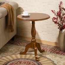 Небольшой круглый стол из цельного дерева американский диван столик Европейский минималистичный Круглый Чайный Столик Маленький журнальный столик
