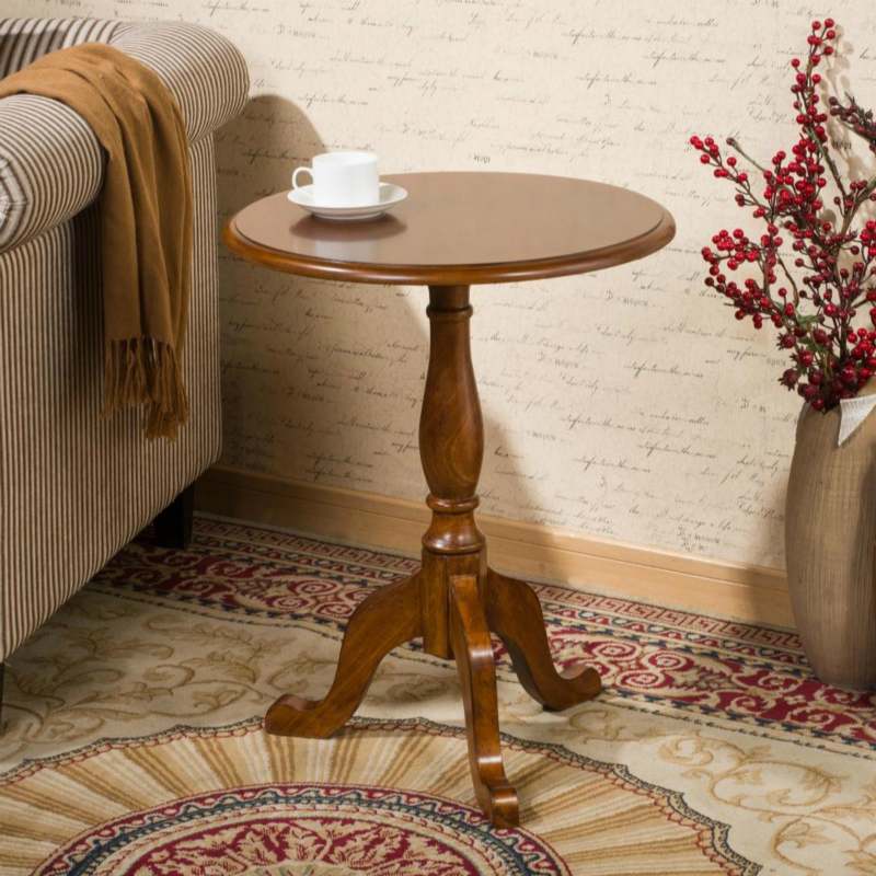Solid wood small round table American sofa side table European minimalist round tea table Small coffee table russian style small tea table new classical edge corner simple fashion high grade wood coffee table round end table
