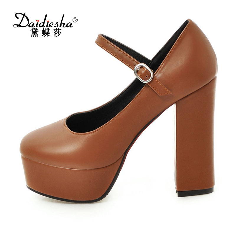 a63ac1df0b3 Daidiesha 2018 Block heel Female Shoes Round Toe Retro Platform High Heels  Pumps Shoes Woman Mary Jane Ladies Party zapatos