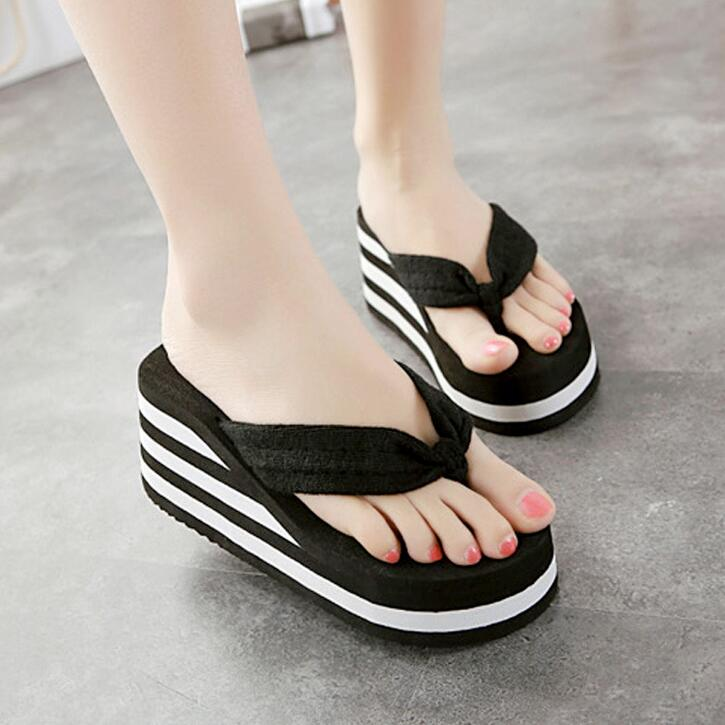6Cm Flip Flop Wedges Heels Summer Sandals Slippers Woman Shoes Women -4683