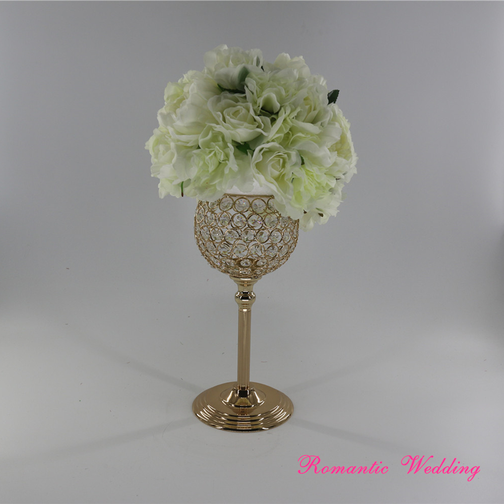 4PCS/lot Stunning Gold Metal CrystalCandle Holders with Big Ball Stand On Sale for Wedding party event home decoration