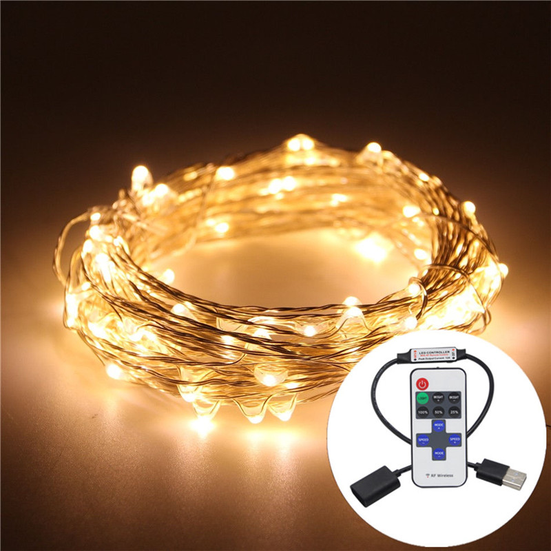 USB 5V 10M 33FT Copper Wire LED String Christmas Lights RGB LED Holiday Light With RF Controller For Christmas Decoration