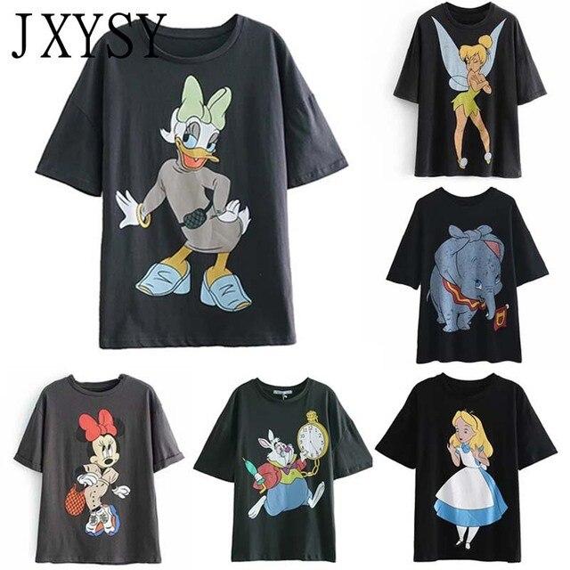 JXYSY 2019 Women T shirt Cartoon Print Daisy Duck England O Neck Short Sleeve Female Casual Summer Chic Tops T shirt Women