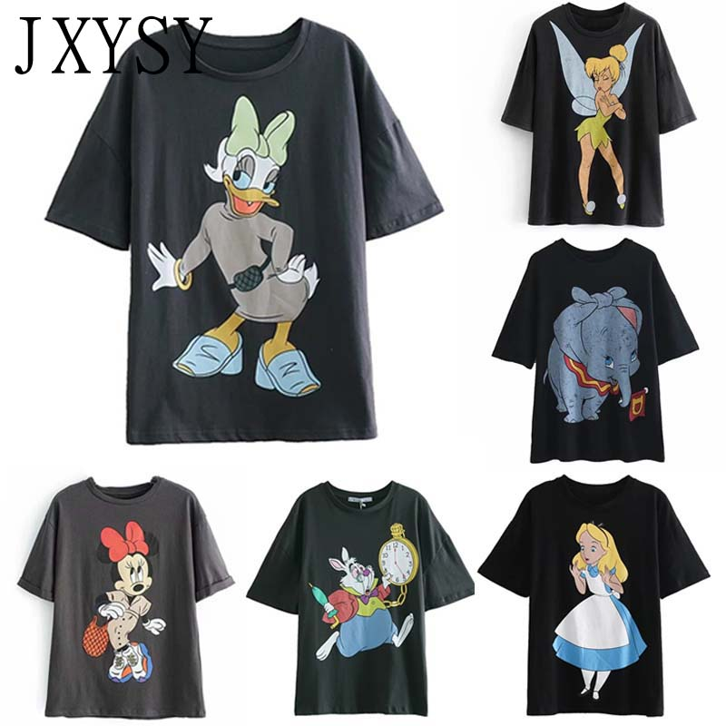 JXYSY 2019 Women   T     shirt   Cartoon Print Daisy Duck England O Neck Short Sleeve Female Casual Summer Chic Tops   T     shirt   Women