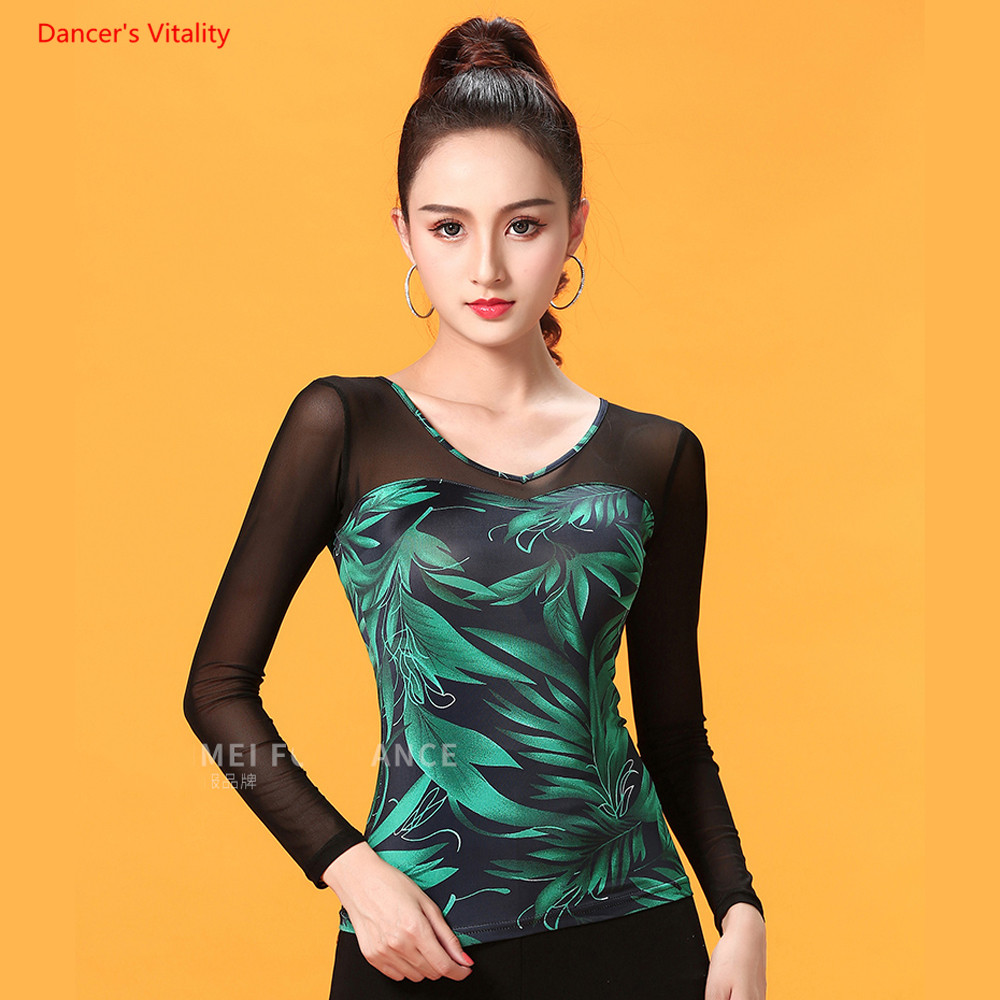 Ballroom Dance Tops Sexy Gauze Long Sleeve Dance Clothes Women Latin Salsa Rumba Chacha Dance Performance Practice Costumes