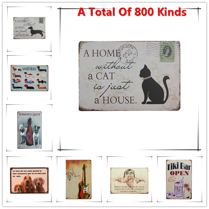 A Home A Cat A House Chic Home Bar Vintage Metal Signs Home Decor Vintage Tin Signs Pub Vintage Decorative Plates Metal Wall Art