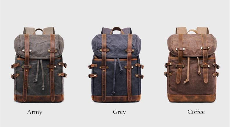 Rostock canvas & leather Vintage Style rucksack