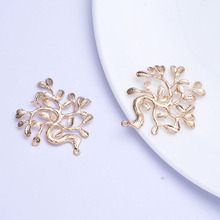 4PCS 33x39MM 24K Champagne Gold Color Plated Brass Tree Charms Pendants High Quality Diy Jewelry Accessories