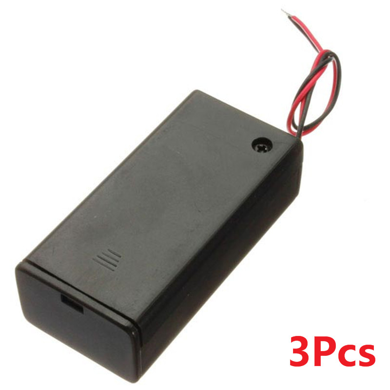 New Arrival 3pcs/lot 9V Battery Box Pack Holder Case With ON/OFF Power Switch Toggle Flashlight Portable Lighting Accessories
