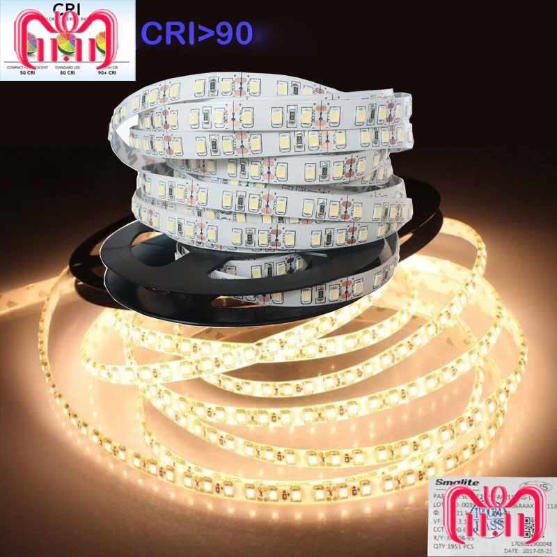 3Years Guarantee High CRI+<font><b>90</b></font> 2835 12V 24V 2835 LED Light Strips For Home 8mm Width 120LED/m 0.2W/LED 45W/5m/lot No-Waterproof image