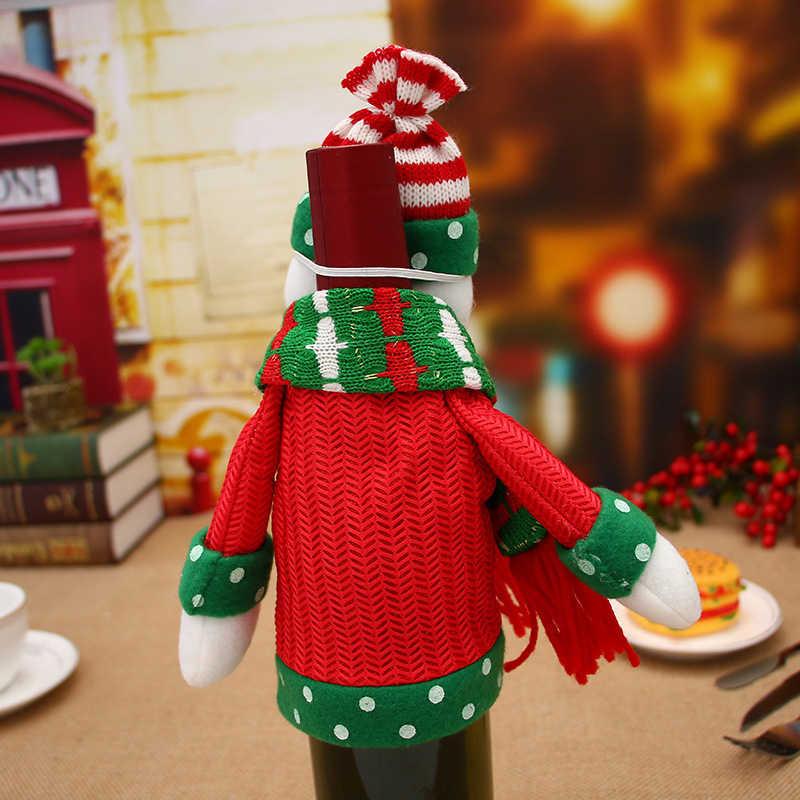 2/комплект из 3 предметов, Рождественская бутылка вина крышки подарок на Новый год мешок Санта клаусами Санта Клаус Лось тканевые украшения для дома вечерние ужин