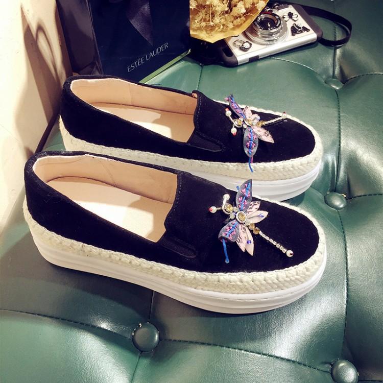 Big Size Women Platform Loafers Crystal Genuine Leather High Quality Pointed Toe Flats Shoes For Women Slipony Women Rhinestone  (32)