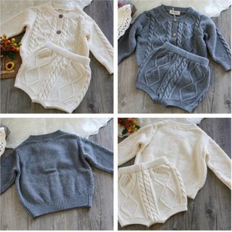 2018 Girls Clothing Sets Pure Cotton Knit Suit Long Sleeved Jacket Shorts Two Pieces Girls Clothes Girls Clothing Sets недорого