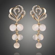 2017 NEW fashion Plated gold personality Hollow Roses set Zircon Opal Earrings Earrings For Women Wedding Jewelry