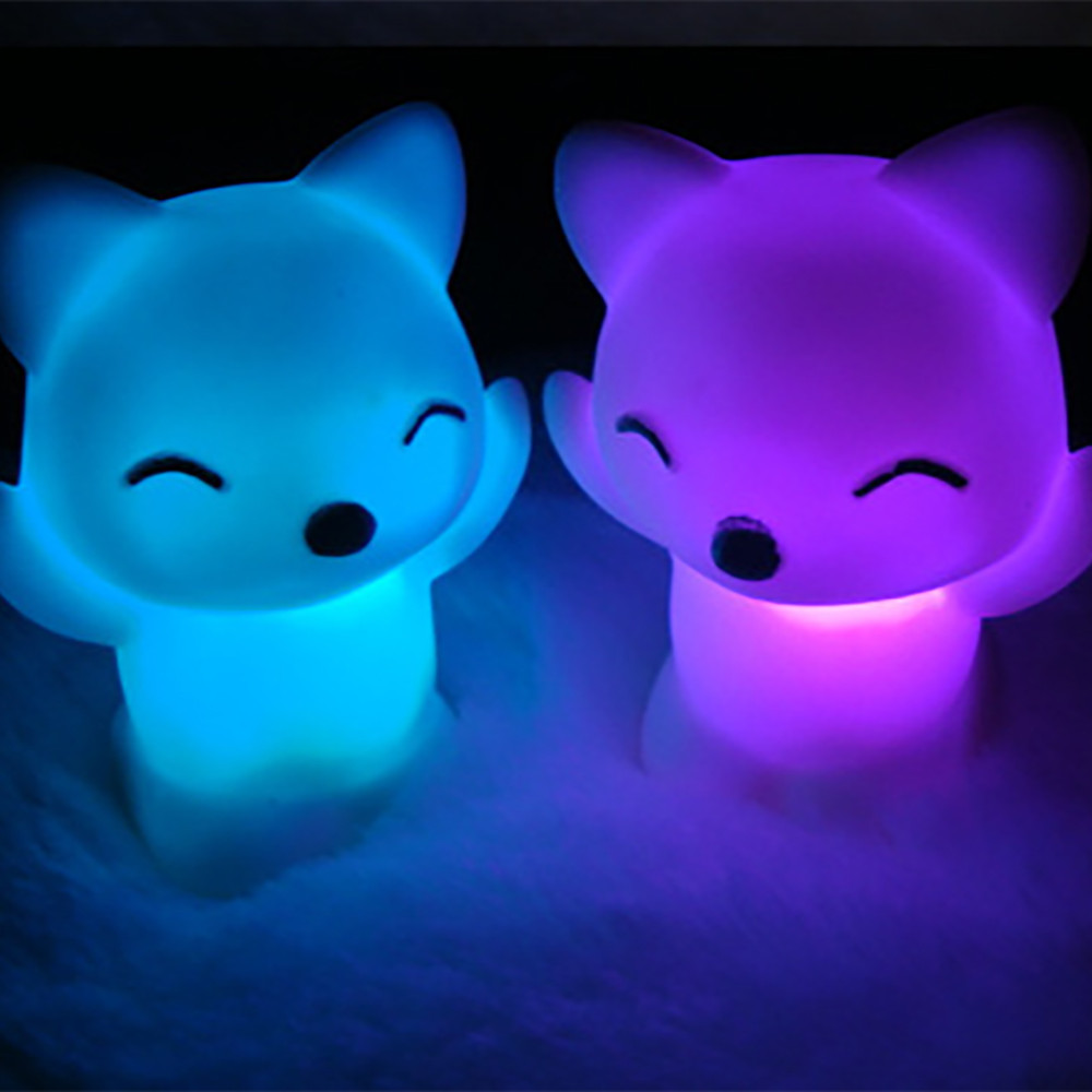 Fox Shape LED USB Children Animal Night Light  Breathing 7 Changing Colors Lovely Silicone Soft Cartoon Baby Nursery Lamp^5