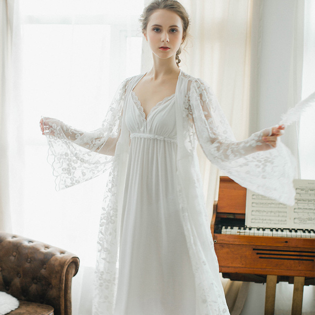 d3d551a27ec Winter sexy pajamas 2 piece Robe beautiful lace gown sling stamp long white  nightdress Gown Sets