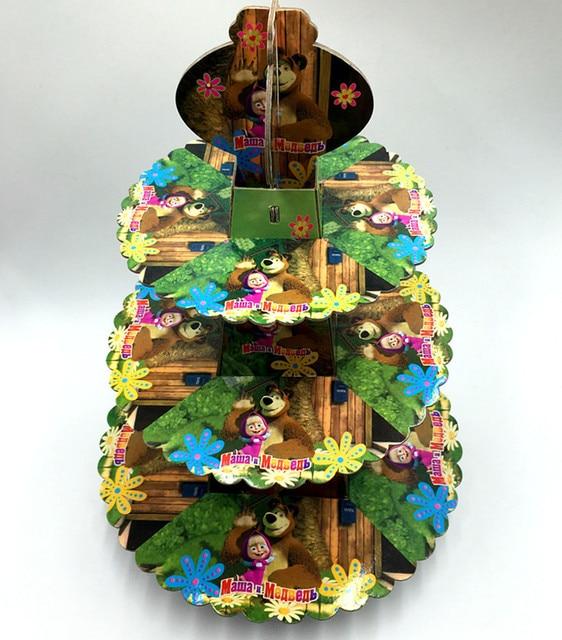 1pc 3 tier Masha and bear cake stand cupcake holder Cartoon Theme