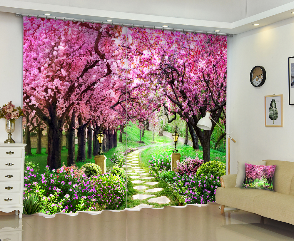 Cherry Floral Tree Print Luxury 3D Window Blackout Curtains For Living room Bed room Drapes Office