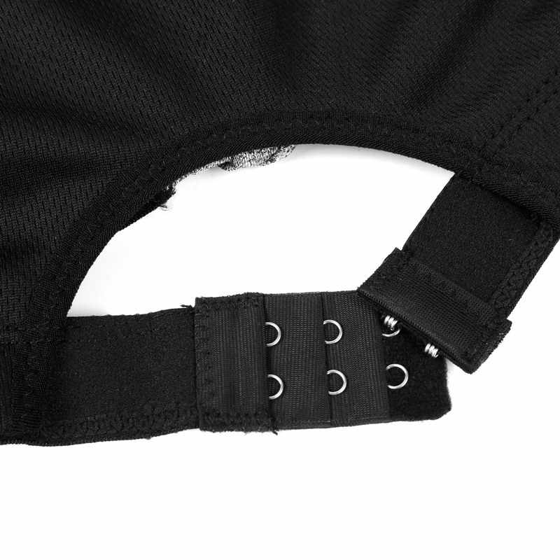 Veqking Plus Ukuran 2XL-5XL Adjustable Zipper Bra Olahraga Wanita Empuk Push Up Wirefree Yoga Bra berjalan Gym Kebugaran Olahraga Atasan