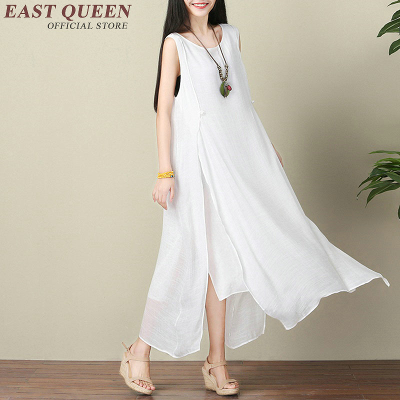 642d09664c6 2018 New summer cotton maxi dress sleeveless Chinese oriental dresses solid  white long summer sundresses NN0752 YQ-in Dresses from Women s Clothing on  ...